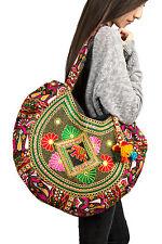 Boho Hippie Large Shoulder Bag Tassels Handmade Colorful Embroidered Red Cotton