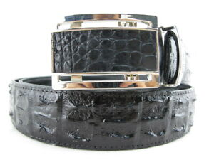 "PELGIO Genuine Crocodile Double Hornback Skin Leather Men's Belt 46"" Long Black"