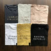 NWT Banana Republic Women Crew Neck Logo Tee Short Sleeve T-Shirt S M L XL
