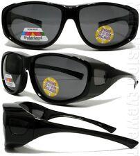 Large Polarized Smoke Lens Sunglasses Fit Over Most Glasses Black 33P Shiny