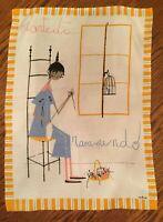 """Vintage Milvia Martedi Rammendo Dishtowel Tapestry Wall Hanging  21"""" W x 29"""" L"""