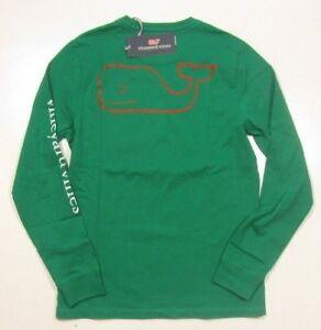 Vineyard Vines Boys Green Meadow Two Tone Vintage Whale Long Sleeve Pocket Shirt