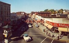 CORNER OF WEST MAIN AND COLONY STREETS IN MERIDEN, CONN. Whelan Drugs circa 1955
