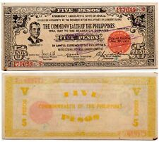 1944 PHILIPPINES Negros 5 Pesos Emergency Banknote S648a  C/S RARE