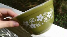 Antique Pyrex nesting mixing bowl army green flower deco collectible oven ware