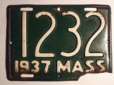 1937 Massachusetts Motorcycle License Plate Tag 1232 Mass MA Rare