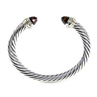DAVID YURMAN Cable Classic Bracelet with Garnet & 14K Gold 7mm $775 NEW