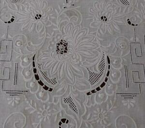 """Vintage Italian Embroidered Needle Lace Table Runner White Linen Lace 42"""""""