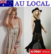 Backless Elegant Floral Lace Women Maxi Full Length Evening Party Dress AU