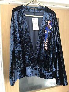 ZARA Gorgeous Blue Velvet Jacket Size L Woman's Sequin Evening Top