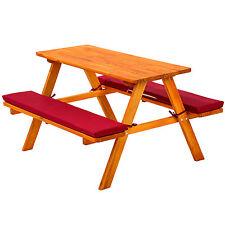 Table bancs de pique-nique meubles enfants bois jardin avec coussins rouge