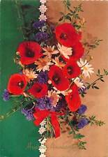 multicolored flower bouquet red white Postcard