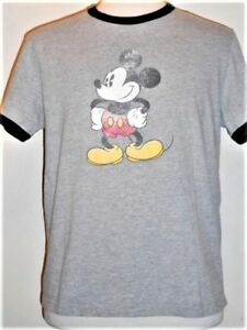 """retro """"distressed"""" MICKEY MOUSE Classic Pose ringer T-shirt"""