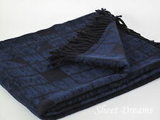 Churchill Weavers Crown Collection New Wool Chenille Dark Blue Sapphire Throw