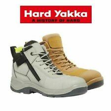 Mens Hard Yakka Fender Safety Boots Steel Toe Cap Side Zip Wheat / Concrete Boot