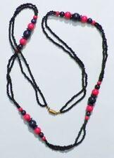 Grand collier bijou vintage 70' perles bleu marine rouge fermoir pas de vis 4901