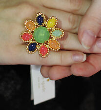 Kate Spade New York AMALFI MOSAIC MULTI COLOR CRYSTAL FLOWER ring size 8