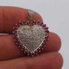 STUNNING 10K 2TONE RUBY & DIAMOND CLUSTER HEART PENDANT E15674-1  3.27 grams