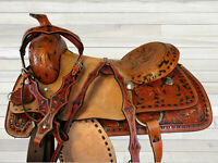 17 16 TRAIL TOOLED LEATHER ROPING WORKING RANCHER HORSE WESTERN HARD SEAT SADDLE