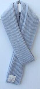 Pure Cashmere Strick Schal-Damen breit Fine Rib 16x170cm-Blass Pulver Blau Mix