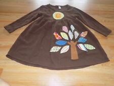 Size 6 Monag Brown Casual Autumn Dress Monogram E Fall Tree Colored Leaves EUC