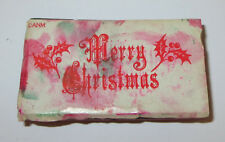 Merry Christmas Rubber Stamp Holly Leaves Berry All Night Media Foam Mounted