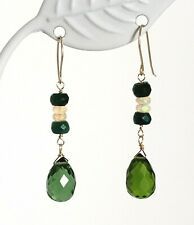 14k Yellow Gold Peridot Briolette, Ethiopian Opal and Sapphire Dangle Earrings