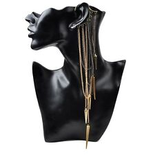 Women Punk Leaves Chain Long Tassel Dangle Ear Stud Cuff Wrap Earring Eardrop