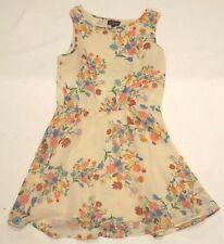Vestido de verano Ladies TopShop Reino Unido 8 EUR 34/36 Beige Floral de una línea
