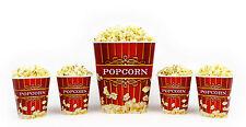 Popcorn Bucket Set - 1 Large & 4 Small Plastic Serving Bowl Tubs