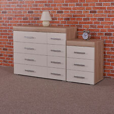 White & Sonoma Oak 4+4 Drawer Chest & 3 Draw Bedside Cabinet Bedroom Furniture