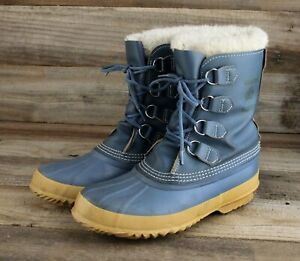 Vintage Sorel Manitou Winter Snow Boots in Blue Women's Size 9