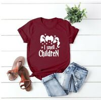 Women's Crazy Witch I smell Chidren Blouse Casual Top Tee Short Sleeve T-Shirt