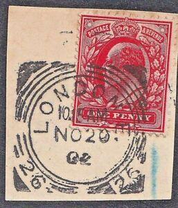 1902 London E. SG ID (26) Squared Cancel On KEdVII Piece