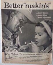 1959 Marlboro Cigarettes Old Cowboy USA Tattoo Young Girl Smoking Ad