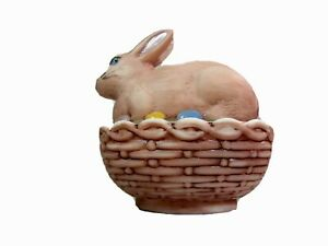 """Mosser Glass  4 1/2"""" Handpainted Covered Easter Bunny Box"""