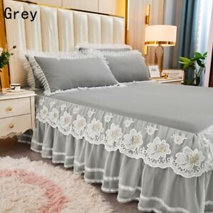 1pc Bedspread 2pcs Pillocases Embroidered Lace Ruffle Bed Skirt Bedding Decor
