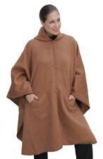 Hooded Alpaca Wool Cape Lined Hood Poncho, Camel