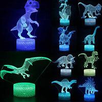 Dinosaur 3D LED Night Light Table Desk Lamp 7 Colors 3D Optical Illusion Lights