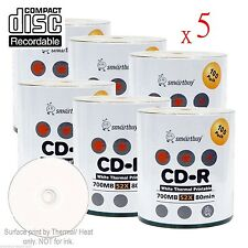 3000-Pack SmartBuy CD-R 52X 700MB/80Min White Thermal Hub Printable Record Disc