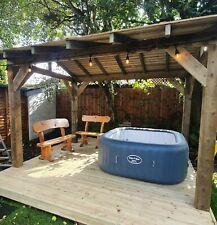 More details for wooden gazebo 3m x 3m hot tub shelter enclosure, outdoor timber garden pergola