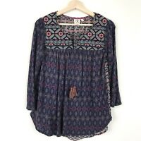 Anthropologie One September Womens Embroidered Boho Style Top Size XS