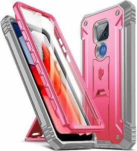 Motorola Moto G Play 2021 Case Poetic® Military Shockproof Kickstand Cover Pink