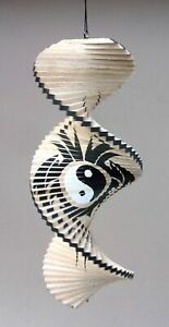 Unusual Wind Twister Natural Tribal Spiral Yin Yang wind spinner Mobile 40cm
