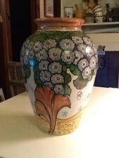 """Lovely Multi Color Painted Ceramic Vase Made In Italy 11"""" H"""