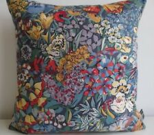 Liberty Cottage Garden Cotton & Blue Linen Back Fabric Vintage Cushion Cover Red