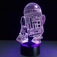 Star Wars R2-D2 3D LED Nachtlicht 7 Farbe Tischlampe USB Schalter Leselampe