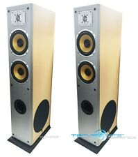 PAIR HI END WOOD CABINET HOME THEATER TOWER FLOOR STANDING SURROUND SPEAKERS