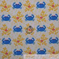 BonEful Fabric FQ Cotton Quilt White Blue Crab Ocean Sea Food Pink Star Stripe S