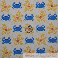 BonEful Fabric Fq Cotton Quilt White Blue Crab Ocean Sea*Food Pink Star Stripe S